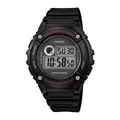Casio® Illuminator Mens Black Bezel Black Resin Strap Digital Watch W216H-1AV
