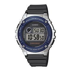 Casio® Illuminator Mens Blue Bezel Black Resin Strap Digital Watch W216H-2AV