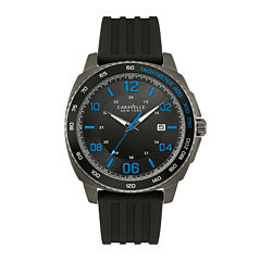 Caravelle New York® Mens Black Silicone Strap Watch 45B144