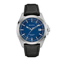 Bulova® UHF Precisionist Mens Black Leather Strap Watch 96B257