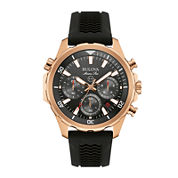 Bulova® Marine Star Mens Black Silicone Strap Chronograph Watch 97B153