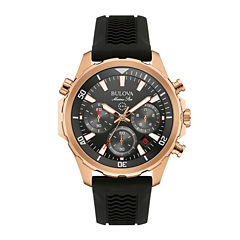 Bulova® Marine Star Mens Black Silicone Strap Chronograph Watch 97B153