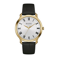 Bulova® Classic Mens Black Leather Strap Watch 97A123