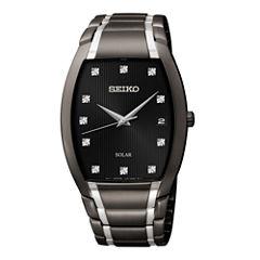 Seiko® Mens Two-Tone Black Ion Stainless Steel Solar Diamond Watch SNE335