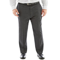 Claiborne® Charcoal Herringbone Flat-Front Suit Pants–Big & Tall