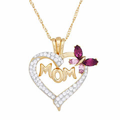 Womens Purple Crystal 14K Gold Over Silver Pendant Necklace