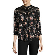 by&by 3/4 Sleeve Mock Neck Gauze Blouse-Juniors