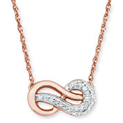 Infinite Promise 1/10 CTT.W. Diamond 14K Rose Gold Over Silver Infinity Necklace