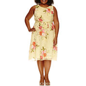 R & K Originals Sleeveless Tie Waist Floral Fit & Flare Dress-Plus
