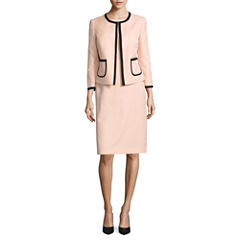 Black Label by Evan-Picone Long Sleeve Contrast Framed Jacket with Sleeveless Contrast Side-Panel Sheath Dress