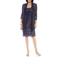 R&M Richards 3/4-Sleeve Crinkle Jacket Dress