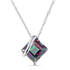 Square Genuine Green Topaz 10K White Gold Pendant Necklace