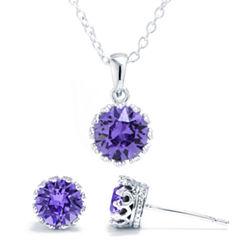 Sparkle Allure Womens 3-pc. Purple Silver Over Brass Jewelry Set