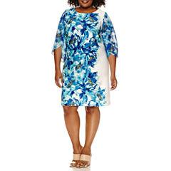 Studio 1 3/4 Sleeve Floral Sheath Dress-Plus