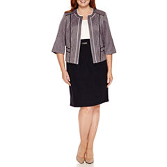 Studio 1 3/4 Sleeve Jacket Dress-Plus