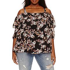 Boutique + 3/4 Sleeve Cold Shoulder Blouse-Plus