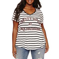 Boutique + Short Sleeve Graphic V Neck T-Shirt-Plus