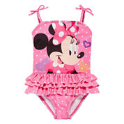 Disney Girls Minnie Mouse Solid One Piece Swimsuit-Big Kid
