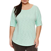 Xersion Short Sleeve Scoop Neck T-Shirt-Plus