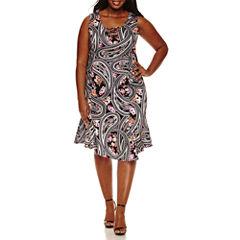 Bisou Bisou Sleeveless Lace Up Sheath Dress-Plus
