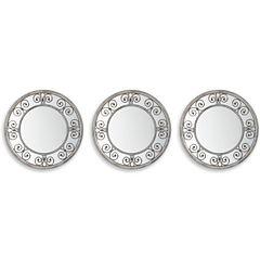 Set of 3 Silver Swirl Mirrors