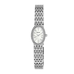 Armitron® Womens Silver-Tone Oval Bracelet Watch