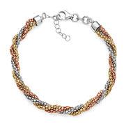 14K Gold Over Sterling Silver Tricolor Twisted Popcorn Bracelet