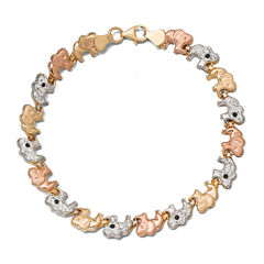 Tri-Color Crystal 14K Gold Over Sterling Silver Elephant Stampato Bracelet