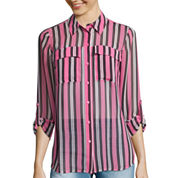 I 'Heart' Ronson® Long-Sleeve Striped Roll-Cuff Blouse