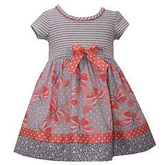 Bonnie Jean short sleeve knit stripe to butterfly print dress Dress - Baby Girls