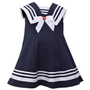 Bonnie Jean sleeveless nautical collar a line Dress - Baby Girls