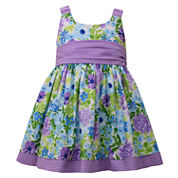 Bonnie Jean sleeveless floral print with cummerbund waist Dress - Baby Girls