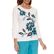 Alfred Dunner Scenic Route 3/4 Sleeve Crew Neck Embroidered Pullover Sweater