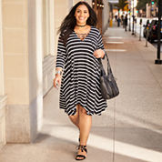 Boutique + 3/4 Sleeve A-Line Dress-Plus