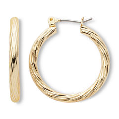 Mxit Gold-Tone, Textured Hoop Earrings