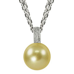 Golden South Sea Pearl & Diamond-Accent Pendant Necklace