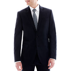 JF J. Ferrar Navy Variegated Stripe Suit Jacket - Slim-Fit
