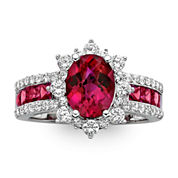 Lab-Created Ruby and White Sapphire Sterling Silver Starburst Ring