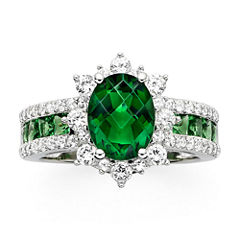 Lab-Created Emerald and White Sapphire Sterling Silver Starburst Ring