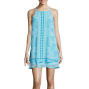 Love Reigns Sleeveless Boarder Print A-Line Dress With Peekaboo Hem- Juniors