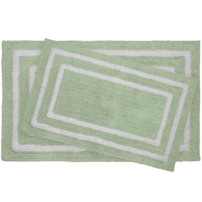 Jean Pierre Double Border Reversible Cotton 2 Pc. Bath Mat Set