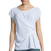 a.n.a® Short-Sleeve Knot-Front Woven Blouse