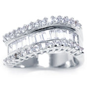 Sparkle Allure Womens Clear Cubic Zirconia Silver Over Brass Band