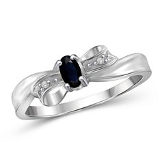 Womens Diamond Accent Genuine Oval Blue Sapphire Sterling Silver Engagement Ring