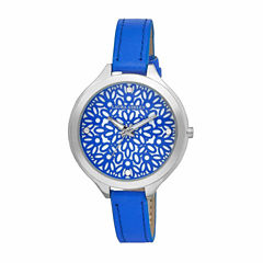 Laura Ashley Geo Print Dial Womens Blue Strap Watch-LA31023BL