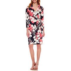 Liz Claiborne 3/4 Sleeve Wrap Dress