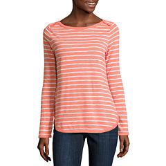 Liz Claiborne Long Sleeve Boat Neck T-Shirt-Womens