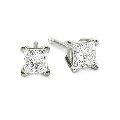1/3 CT. T.W. Princess Diamond Studs 14K Gold