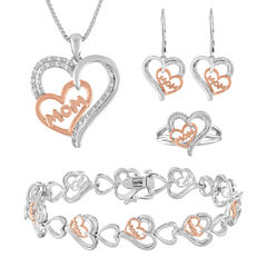 Womens 4-pc. 1/5 CT. T.W. White Diamond Gold Over Brass Silver Over Brass Jewelry Set