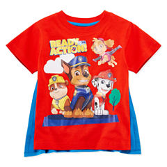 Short Sleeve Paw Patrol T-Shirt With Removable Cape-Toddler Boys